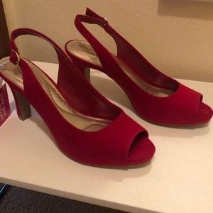 Suede red open toe heels!